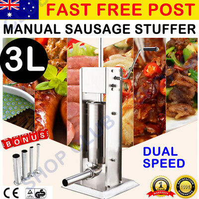 New Stainless Steel Meat Sausage Filler Stuffer Salami Maker Vertical 3L Liter