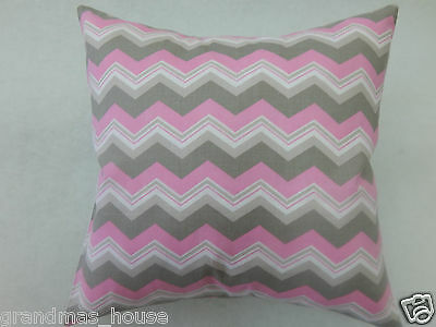 Grey and Pink Chevron Cushion Cover - 100% Cotton  40cm x 40cm Perfect Gift!!
