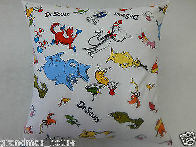 Dr Seuss Characters Cushion Cover - 100% Cotton  40cm x 40cm Perfect Gift!!