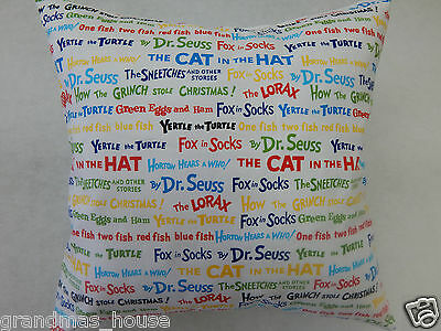 Dr Seuss Story Titles Cushion Cover - 100% Cotton  40cm x 40cm Perfect Gift!!