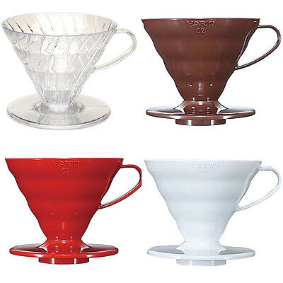 Hario V60 02 Plastic Coffee Dripper Clear, Brown, Red and White For 1 - 4 Cups