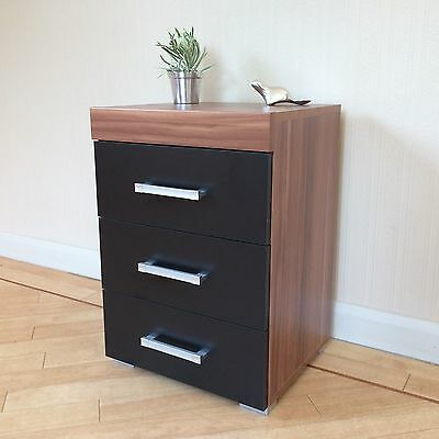 3 Drawer Black & Walnut Bedside Cabinet / Table (3 Draw Chest) Bedroom Furniture