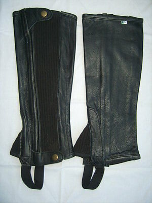 Soft Leather Half Chaps in Black & Brown