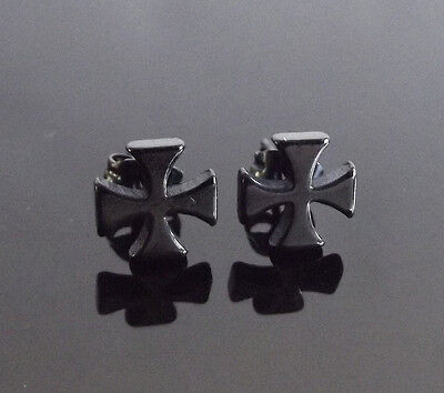 Maltese Cross BLACK Stud PAIR Ear Ring Earrings Biker Punk