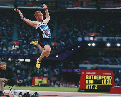 Greg RUTHERFORD Autograph Signed 10x8 Photo AFTAL COA Olympic Gold Medal Winner
