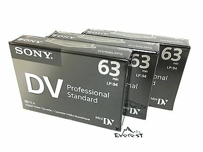 Sony DVM63PS Mini DV Minidv Camcorder video 63min Professional Tape 3 Pack