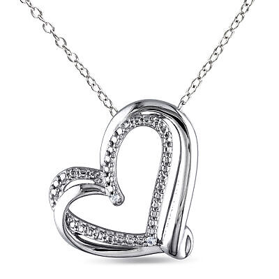 Sterling Silver Diamond Twisted Heart Pendant Necklace With Chain GH I2;I3 925