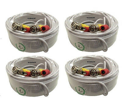 4 lot 100ft Security Camera Cable CCTV Video Power Wire BNC RCA White Cord DVR
