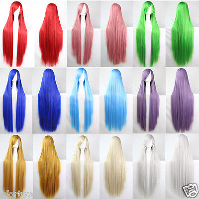 New 100CM Perruque Femme WIG Droite Raide Cosplay Long Synthétique Party Costume