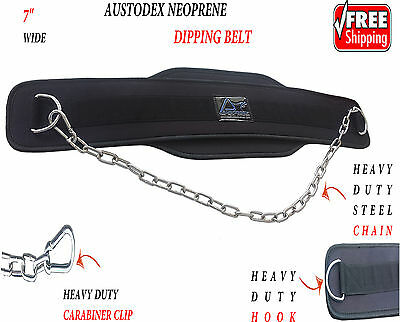 Austodex Dipping Dip Chain Belt Body Building Weight Lifting Gym Back Pull Up 7""