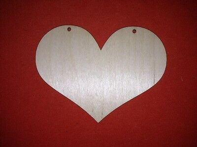 10 HOMELY HEART 9 x 12cm PLAIN UNPAINTED BLANK WOODEN RUSTIC SHAPE TAG LABEL