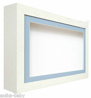 New Large Deep Shadow White / Blue Box Display Frame for Baby Boy Casts, Medals