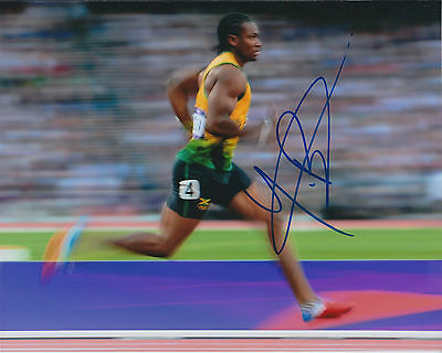 Johan BLAKE Autograph Signed Photo AFTAL COA Jamaica Athlete Sprinter Gold