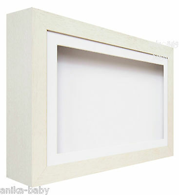 Large Deep Shadow White Box Display Frame for Baby Hand Casts  Medals Keepsake