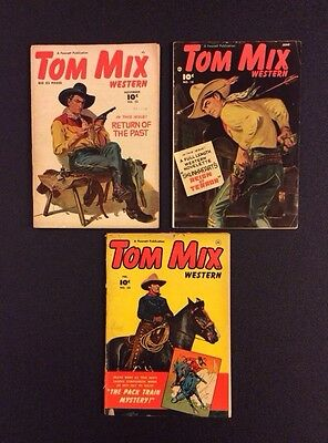 Golden Age TOM MIX WESTERN Comic Books #18, 23, 50 Fawcett 1949 Rare Vintage