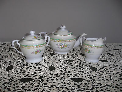 Noritake Tea Set Tea Pot, Creamer And Sugar Mortimura Marking