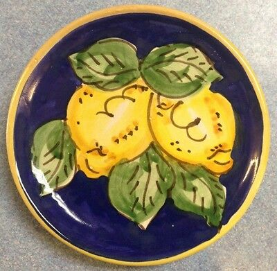 Vietri Pottery-4,5inch Plate blu lemon.Made/Painted by hand in Italy