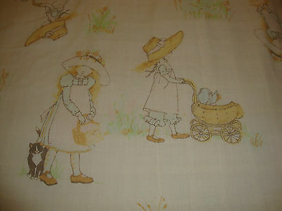 Vintage Twin Flat Sheet HOLLY HOBBIE with Dog and Cat and Friends