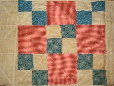 Vintage Antique 1860 - 1880 THRIFTY HOMESPUN Fabric HAND STITCHED Quilt 85x64