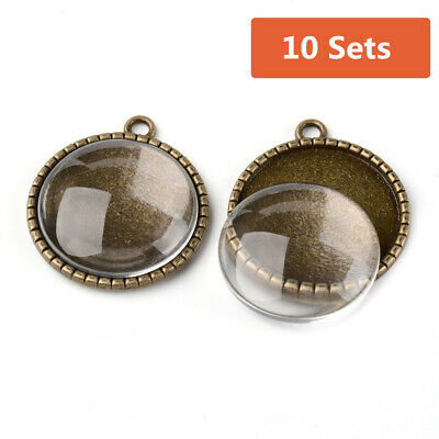 10X 25mm DIY Transparent Clear Domed Glass Cabochon Cover Alloy Photo Pendents
