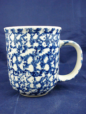 "EUC Tienshan Folk Craft SPONGE blue & white 3.75"" tall coffee mug cup"