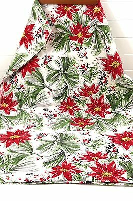 """Vintage Christmas Tablecloth W/Border OF Poinsettas & Pine Boughs- 52"""" x 75"""""""