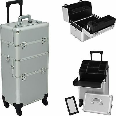Rolling Makeup Case Pro Cosmetic Hair Stylist Storage Wheeled Trolley Hiker NIB