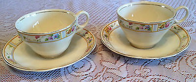 2 CREAMPETAL GRINDLEY ENGLAND TEA CUPS - DELICATE WITH GOLD RIM