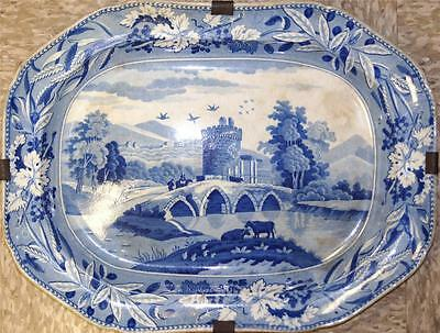 Antique French Fiancé/Delft style Blue & White Painted Porcelain Charger C 1860s