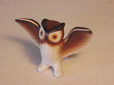 Vintage Bisque Hand-Painted Porcelain Hoot Owl Figurine - Wings Spread Wide