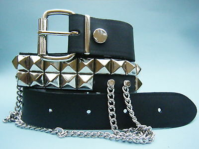 Studded Leather Belt with Chains