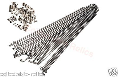 72 X Stainless Steel Spokes 296mm 14g 2.0mm Brass Nipples MTB Road BMX Bicycle