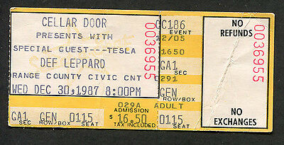 1983 Def Leppard Tesla concert ticket stub Hysteria Tour Orlando FL Civic Center