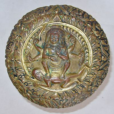 "7.3"" Antique Chinese or Tibetan Gold Gilt Bronze Repousse Round Box with SHIVA"