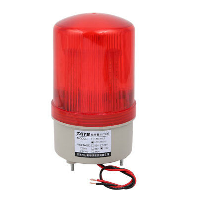Industrial 105-110dB Buzzer Horn AC 110V Red LED Warning Light Signal Tower Lamp