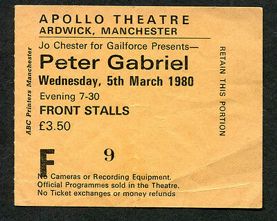 1980 Peter Gabriel ticket stub Apollo Theatre Manchester Games Without Frontiers