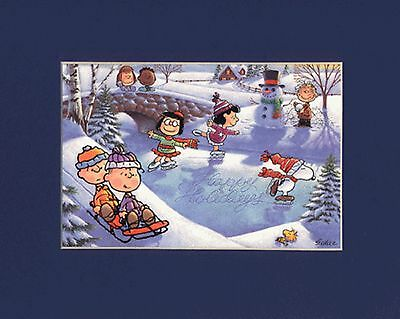 PEANUTS GANG~PIGPEN & MARCI~FRANKLIN~8 x 10 Mat Print~Ice Skating~WINTER FUN~NEW