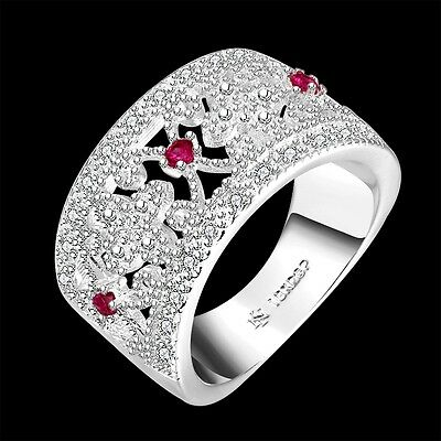 925 Silver Ring red Crystal charm women fashion jewelry Xmas gift size 8