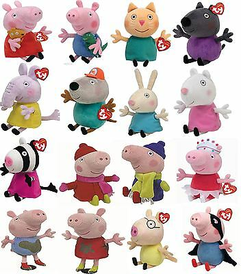 """Peppa Pig - 6-8"""" TY Beanies including Peppa and Friends - Choose A Soft Plush"""