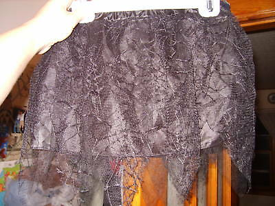 NWT skirt 1 size black tutu spider webs Halloween young girl Claires costume