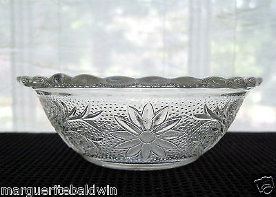 """Vintage Indiana Glass Clear Sandwich Scalloped Edge 5"""" Berry Dessert Bowl"""