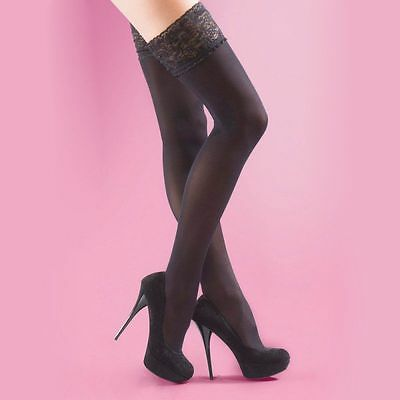 Soft Opaque Lace Top 40 Denier Hold Ups New Black Medium (One Size)