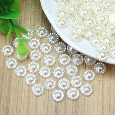 100 Pcs Ivory Faux Pearl Flower Beads Wedding Birthday Cards Decoration 9mm