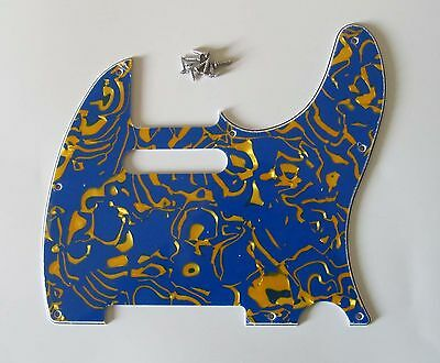 Tele/Telecaster Style Scratch Plate Guitar Pickguard Blue Shell 3 Ply