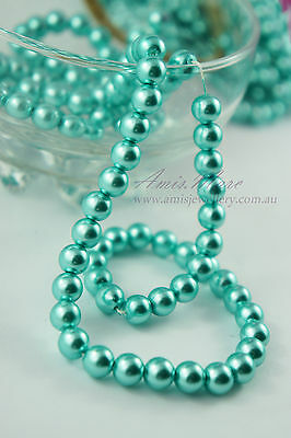 110pcs Beads-8mm Turquoise Blue Color Imitation Acrylic Loose Round Pearl Spacer