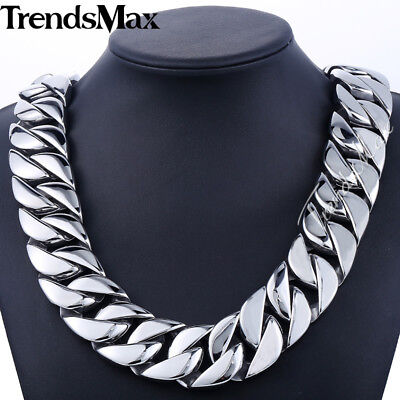 "HEAVY 18-36"" Mens Chain Boys 31mm CURB Link Silver 316L Stainless Steel Necklace"