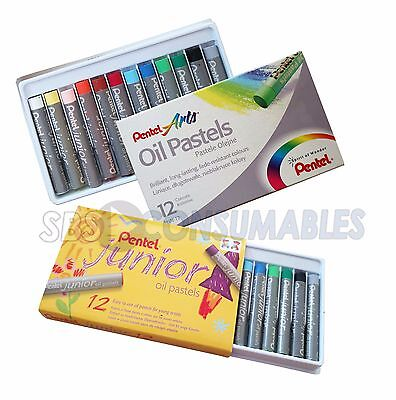 Pentel Oil Pastels. Pack of 12. Available in Junior Or Arts. 12 Vibrant Colours.