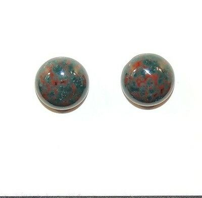 Bloodstone Cabochon 10mm with 4.5mm Dome from India set of 2 (7969)
