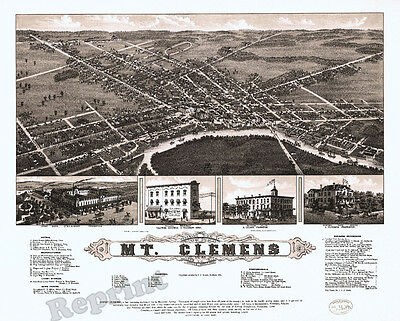 Wall Art  Old Map of Vintage Mt. Clemens Michigan  Year 1881  11x14