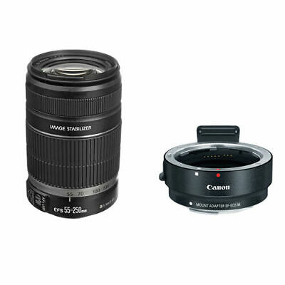 Canon EF-S 55-250mm f/4-5.6 IS II Lens w/Canon EF-M Adapter For EF/EF-S Lenses